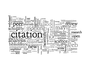 """Wordle from """"Bibliometrics and beyond: Some thoughts on web-based citation analysis"""" by Blaise Cronin, 2001"""