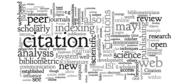 "Wordle from ""Bibliometrics and beyond: Some thoughts on web-based citation analysis"" by Blaise Cronin, 2001"